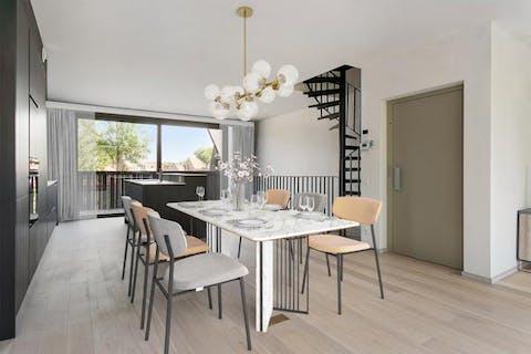 Nieuwbouw duplex appartement te koop met 2 slaapkamers en 2 terrassen in centrum Brugge