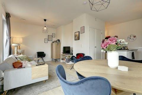 Recent appartement (61m²) met 1 slaapkamers en zonnig terras in Hoboken