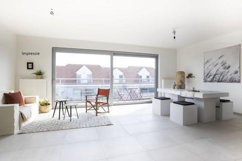 Zeer mooi nieuwbouwappartement met 1 slaapkamer en leuk terras te Willebroek.
